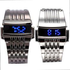 Black/Silver Men Blue LED Digital Stainless Steel Band Quartz Wrist Watch Luxury