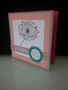 Our Daughters Birthday - Dandelion Wish, stampin up colours, tangerine, aqua, pink, watermelon, glitter, dry embossing
