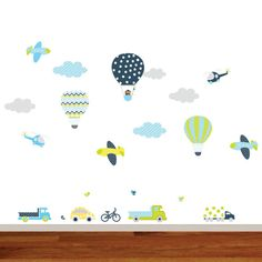 This listing is for a boys city theme decal set. Balloon with monkey 17h x 11w Balloon 2 13h x 9w Balloon 3 13h x 9w Clouds 16w x 8h 3 trucks car bike 4 birds 5 clouds 3 airplanes 2 helicopters CHOOSE YOUR COLORS Please specify your preferred colors in message box in