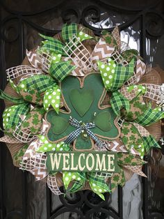 Sharyn Kaye's, St Patrick's Day Wreath, St. Patrick's Front Door, Spring Mesh Wreath, Spring Deco Mesh, Spring Front Door by SharynKayes on Etsy