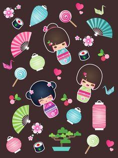 kokeshi Cuties by minercia.deviantart.com on @deviantART