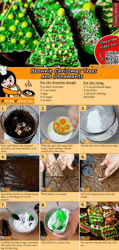 Brownie Christmas Trees and Ornaments recipe with video. Detailed steps on how to prepare this easy and simple Brownie Christmas Trees! Christmas Tree Brownies, Christmas Desserts, Christmas Cookies, Christmas Eve, Christmas Trees, Kreative Snacks, Chocolate Garnishes, Jaffa Cake, Fruit Gums