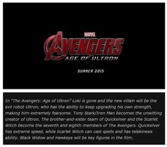 The Avengers    ..   Age of Ultron  ~~~New boards for iron man, thor, captain america films, and also for Avengers Humor and SHIELD tips and nick fury memos. Thanks for following!~~~~Heather S