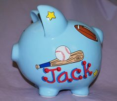 A penny saved is a penny earned…   Personalized Large Blue Sports Ceramic Piggy Bank makes an ideal gift for baby shower, newborn, birthday,
