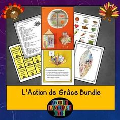 Activities for l'Action de Grâce in French class.  Writing, interactive notebook, games, etc.