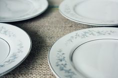 lovely set of bread and butter plates by PrairieSeed on Etsy, $12.00