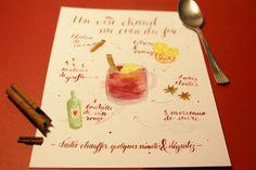 Recette vin chaud en calligraphie et aquarelle © Calligraphique
