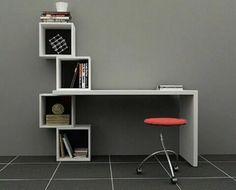 escritorio moderno minimalista - mesa para pc con cubos