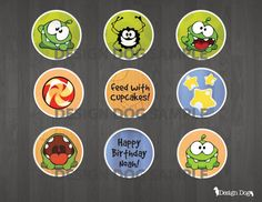 Cut The Rope Cupcake Toppers- 9 designs