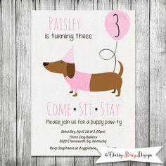 Girl Dachshund Birthday Puppy Party Invite - 5x7 JPG