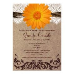 Rustic Orange Daisy Country Bridal Shower Invitations