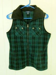 Chaps Fleece Green Black Plaid Zipper Vest Womens PM #Chaps