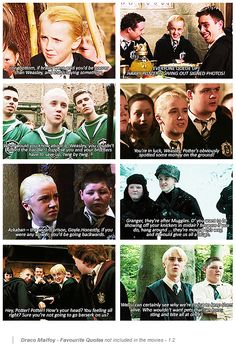Draco Malfoy quotes from the book that didn't make it into the movies.