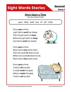 This Reading Comprehension Worksheet - Once Upon a Time is for teaching reading comprehension. Use this reading comprehension story to teach reading comprehension.