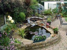 estanque de jardín con plantas acuáticas