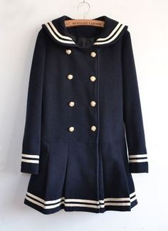 Navy Long Sleeve Double Breasted Bow Ruffle Coat pictures