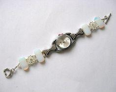 Bratara si ceas bijuterie femei piatra lunii si cristale - idei cadouri femei Bracelet Watch, Beaded Bracelets, Watches, Accessories, Jewelry, Fashion, Moda, Jewlery, Wristwatches
