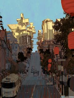 Visual Development for Big Hero 6 by japanese illustrator and Coraline concept artist: Tadahiro Uesugi. (Just imagine the entire San Fransokyo in his artstyle *stars in my eyes*) Scene Design, Cityscape, Illustration, Art Background, San Fransokyo, Art, Digital Painting, Animation Background, Environmental Art