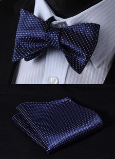 BC1015VS Blue Pink Check Bowtie Men Silk Self Bow Tie handkerchief set #HISDERN #BowTie