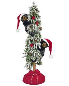 Snowy Christmas Frolic Tree Bears, 60 Inches -Available now on Lights in the Northern Sky www.lightsinthenorthernsky.com