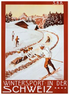 Swiss vintage ski poster