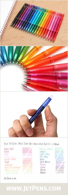 The Pilot FriXion Ball Slim pens are available in 20 colors! These erasable pens are great for planner lovers! I have this pen too. To Do Planner, Life Planner, Happy Planner, Diy Organizer, Cute School Supplies, Office Supplies, Art Supplies, Planner Supplies, Just In Case