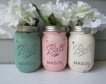 Painted and Distressed Ball Mason Jars- Jade/Pale Green, Light Pink/Blush and Cream/White/Ivory-Flower Vases, Rustic Wedding, Centerpieces
