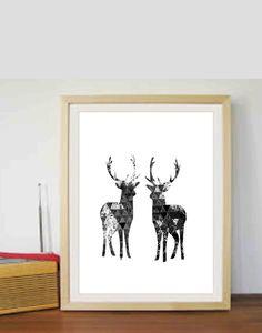 Deer Prints Modern Wall Print Minimalist Print by FanArtbyDaniJay