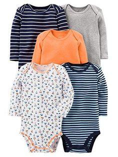 0af6a0bdd Simple Joys by Carter's Boys' 5-Pack Long-Sleeve Bodysuit, Sailboat/Blue  Stripe/Orange/Grey