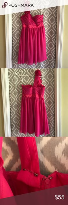 Bari Jay pink bridesmaid or cocktail dress Bari Jay bridesmaid dress only worn once. Could be worn as a cocktail dress as well. Strap is only pinned so you can adjust it to your liking. Size 12 fits like a 6 or 8. bari jay Dresses One Shoulder
