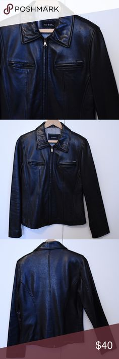 """Guess M Black Leather Jacket GUC Guess black buttery soft M leather jacket Two front breast pockets, front zip, fully lined Several small pick areas upper left front (see photo) Otherwise near perfect pre-loved condition Shoulder to shoulder approx 16"""" Armpit to armpit approx 19"""" Side seam armpit to hem approx 13"""" Back seam neckline to hem approx 23"""" Sleeve armpit to opening approx 18"""" Front zipper approx 20"""" Guess Jackets & Coats"""