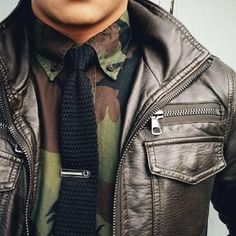 Camo Shirt, Black Knit Tie, and Brown Leather Jacket, Men's Fall Winter Fashion. Gq, All Black Men, Brown Leather Bomber Jacket, Camouflage Fashion, Street Style Shop, Fashion Hashtags, Camo Shirts, Knit Tie, Sharp Dressed Man