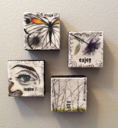 Encaustic-four 4x4 canvases, wax, tissue paper, pan pastels, oil stick by M Miller