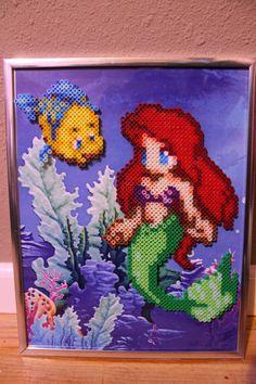 Framed The Little Mermaid perler beads by Mini Hama Beads, Diy Perler Beads, Perler Bead Art, Fuse Beads, Fuse Bead Patterns, Perler Patterns, Disney Paper Dolls, Mermaid Cross Stitch, Perler Bead Disney