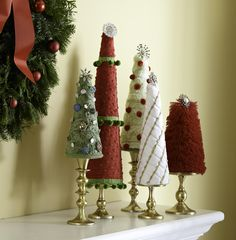 Foam cones coverd with fabric, embellished and put over candlesticks. Home For The Holidays Winter Christmas, All Things Christmas, Christmas Holidays, Christmas Decorations, Christmas Ornaments, Craft Decorations, Elegant Christmas, Rustic Christmas, Winter Holidays