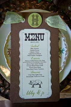menu cards with pigs on them