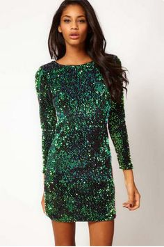 Sequined long sleeve dress