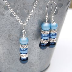 Something Blue Jewelry Set, Navy and Blue Pearl Rhinestone Necklace and Earrings Set, Bridesmaid Jewelry