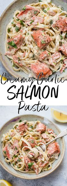 This salmon pasta with a creamy garlic sauce is quick and delicious and makes an easy and elegant meal. Ready in less than 30 minutes! #salmonpasta