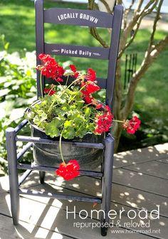 Herb Planters, Basket Planters, Planter Garden, Chair Planter, Window Planter Boxes, Geranium Plant, Yard Sale Finds, Cottage Garden Design, Sign Stencils
