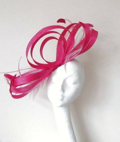 a1e2d7b1f6639 Hot Pink Fascinator Hat for Weddings Races and by Hatsbycressida
