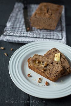 Paleo Banana Bread.  Easiest and most delicious Banana Bread ever.  Please repin #paleo #recipes #gluten free