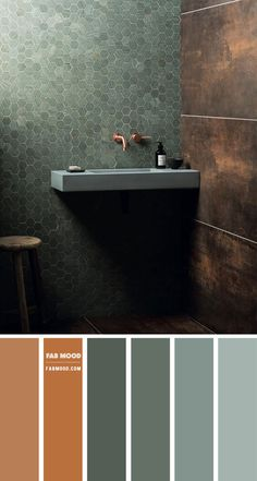 Gorgeous combinations of earthy colors + textures and tones. We love these hexagon tile shaped from Mandarin Stone in different shades of green. Copper Colour Scheme, Green Colour Palette, Copper Color, Color Palettes, Earthy Bathroom, Copper Bathroom, Cosy Bathroom, Bathroom Green, Bathroom Ideas