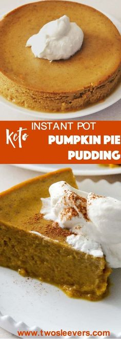 Sideways shot of a slice of crustless pumpkin pie. Perfect, crustless pumpkin pie pudding makes a lovely keto, low carb pumpkin pie dessert in your Instant Pot or Pressure cooker. This is an easy dump…More Easy Low Carb Dessert Ideas Keto Friendly Desserts, Low Carb Desserts, Low Carb Recipes, Vegetarian Recipes, Pescatarian Recipes, Vegetarian Lunch, Low Carb Keto, Free Recipes, Low Carb Cheesecake