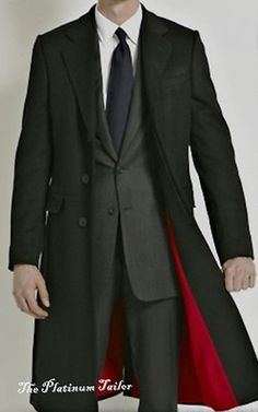 Mens Classic Black Wool Overcoat Velvet Collar With A Gorgeous Red Lining.