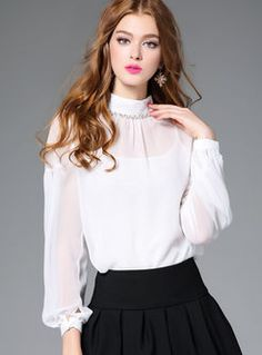 Brief Pure Color Lantern Sleeve Pullover Blouse