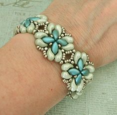 Linda's Crafty Inspirations: Bracelet of the Day: For Your Eyes Only - Mint & Aqua