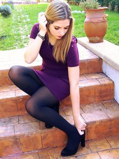 Tights Galore aims to be the number one place for tights and pantyhose fashion inspiration. Black Opaque Tights, Black Pantyhose, Pantyhose Fashion, Fashion Tights, Sexy Outfits, Stocking Tights, Sensual, Sexy Legs, Girls