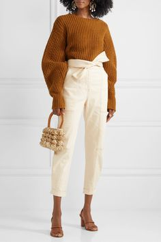 Ulla johnson storm belted paneled high-rise tapered jeans in blanc; sea nellie belted ribbed wool sweater in light brown; Wish list and beautiful styles from NET-A-PORTER for designer shoes, bags, and cloth! Casual Date, Tapered Jeans, Autumn Winter Fashion, Winter Style, Fall Fashion, Minimal Fashion, Runway Fashion, Knit Fashion, Personal Style