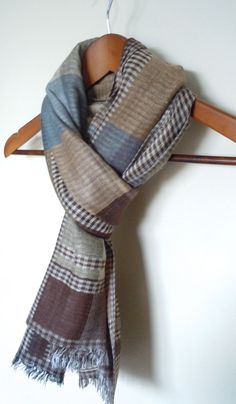 Brown Men Scarf With Blue and Beige Plaid Print by WomanScarves,  31.90  Foulards Pour Hommes 54b5000c4fb